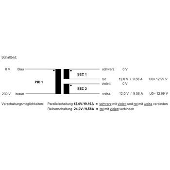 Toroidal Transformer 230VA 230V -> 2x12V / 1x24V ; Sedlbauer, RSO-861757