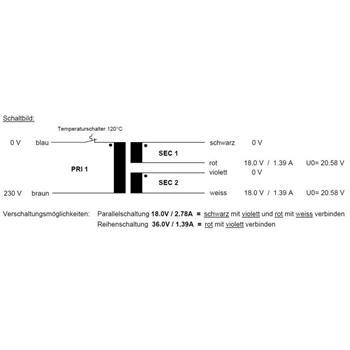 Toroidal Transformer 50VA 230V -> 2x18V / 1x36V ; Sedlbauer, RSO-825016