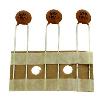 Keramik Kondensator 0,068nF 1000V DC Richwell TCH3A680K08B516 d7x2,5mm 68pF