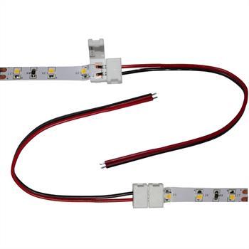 Verbinder / Connector für LED-Streifen 8mm ; 1 Clip + 1 Kabel 15cm