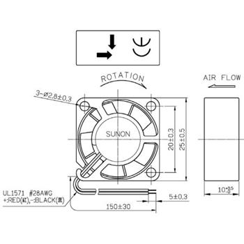 Lüfter 12V 0,45W 25x25x10mm 5m³/h 16dBA ; Sunon MC25101V2-A99