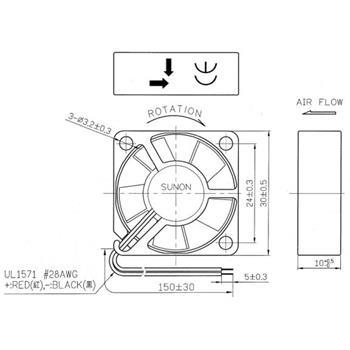 Lüfter 5V 0,6W 30x30x10mm 9,3m³/h 23dBA ; Sunon MC30100V1-A99