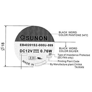 Lüfter 12V 0,76W 40x40x20mm 13m³/h 21dBA ; Sunon EB40201S2-999
