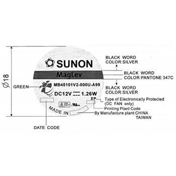 Lüfter 12V 1,26W 45x45x10mm 15,6m³/h 27dBA ; Sunon MB45101V2-A99