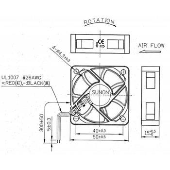 Lüfter 12V 1,74W 50x50x15mm 31,5m³/h 40dBA ; Sunon ME50151V1-A99