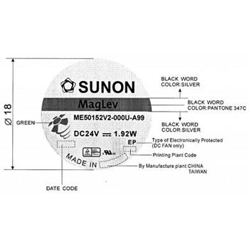 Ventilator / Fan 24V 1,91W 50x50x15mm 27,3m³/h 36dBA ; Sunon ME50152V2-A99