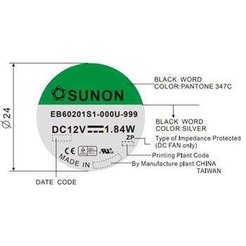 Lüfter 12V 1,84W 60x60x20mm 39m³/h 33,5dBA ; Sunon EB60201S1-999