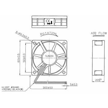 Lüfter 24V 1,8W 60x60x20mm 39m³/h 33,5dBA ; Sunon MB60202V1-A99