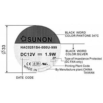Lüfter 12V 1,9W 120x120x25mm 93,4m³/h 30dBA ; Sunon HAC0251S4-999