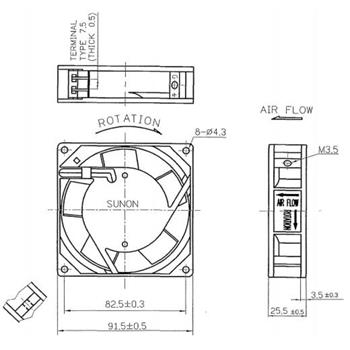 Lüfter 230V AC 14,5W 92x92x25mm 49,2m³/h 2250U/Min 49,2m³/h Sunon SF23092A2092HST