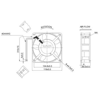 Lüfter 230V AC 22W 120x120x38mm 161m³/h 2700U/Min 161m³/h Sunon DP200A2123XST