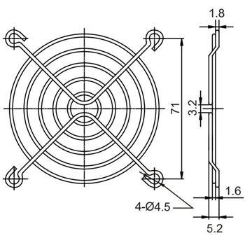 Sunon Lüftergitter 80x80mm für Lüfter 80x80x15mm 80x80x20mm 80x80x25mm