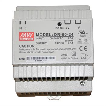 Din-Rail power supply 60W 24V 2,5A ; MeanWell, DR-60-24