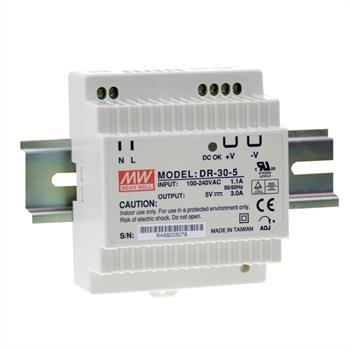 Din-Rail power supply 15W 5V 3A ; MeanWell, DR-30-5