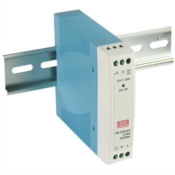 Hutschienen Netzteil 10W 15V 0,67A ; MeanWell, MDR-10-15 ; Hutschienennetzteil