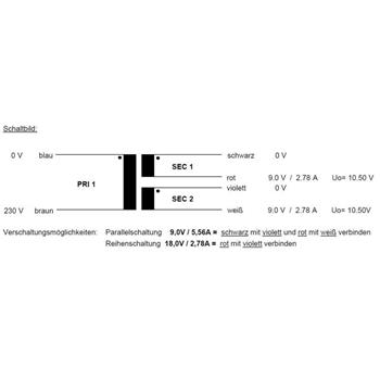 Toroidal Transformer 50VA 230V -> 2x9V 1x18V , Sedlbauer. RSO-826019