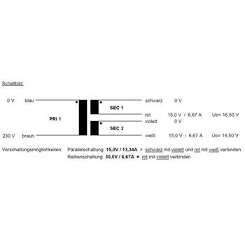 Toroidal Transformer 200VA 230V -> 2x15V 1x30V , Sedlbauer. RSO-826039