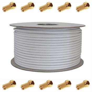 100m TV & Satellite Coaxial Cable 120dB 4x shielded ; DIGITAL 3D HD