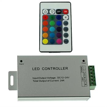 RGB LED IR Controller Wireless + 24Key Remote Control 288W 12V / 576W 24V - 24A