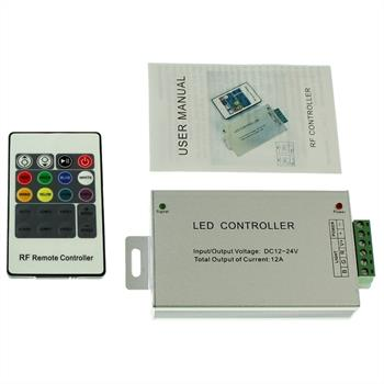 RGB LED RF Controller Wireless + 20Key Remote Control 144W 12V / 288W 24V - 12A