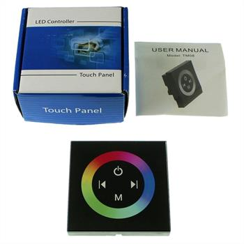 RGB Touch Panel Controller Black TM08 - 12...24V 12A - Glass optics design