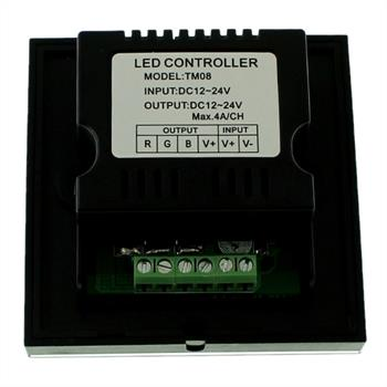 RGB Touch Panel Controller schwarz TM08 - 12...24V 12A - Glas Design Optik