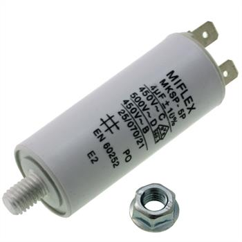 AnlaufKondensator MotorKondensator 4µF 450V 25x58mm Stecker M8 ; Miflex ; 4uF