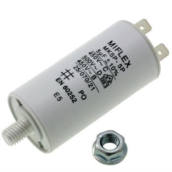 AnlaufKondensator MotorKondensator 5µF 450V 30x58mm Stecker M8 ; Miflex ; 5uF