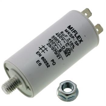 AnlaufKondensator MotorKondensator 6µF 450V 30x58mm Stecker M8 ; Miflex ; 6uF