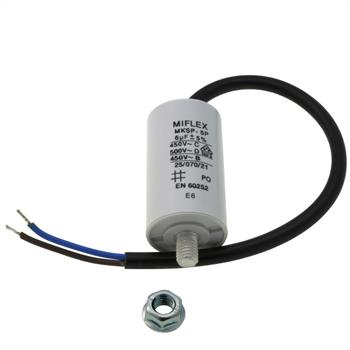 Starting / Motor Capacitor 6µF 450V 30x53mm Cable M8 ; Miflex ; 6uF