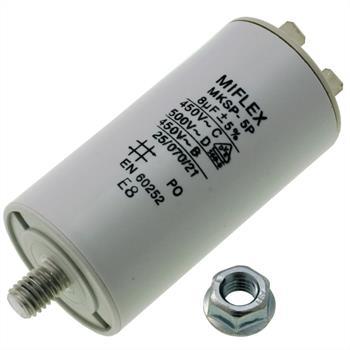 Motor-Kondensator 8µF 450V 35x65mm - Stecker, M8