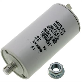 AnlaufKondensator MotorKondensator 10µF 450V 35x65mm Stecker M8 ; Miflex ; 10uF
