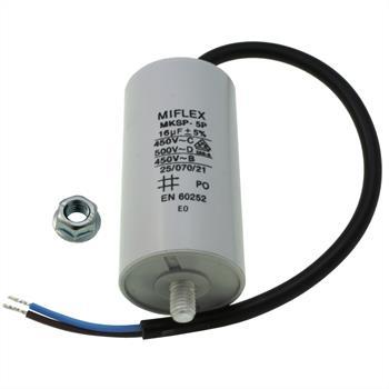 AnlaufKondensator MotorKondensator 16µF 450V 40x78mm Leitung M8 ; Miflex ; 16uF