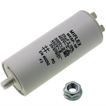 Motor-Kondensator 20µF 450V 40x83mm - Stecker, M8