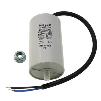 AnlaufKondensator MotorKondensator 25µF 450V 45x78mm Leitung M8 ; Miflex ; 25uF