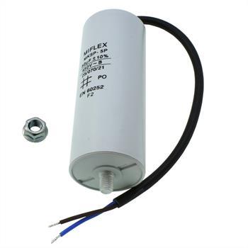 Motor-Kondensator 50µF 450V 45x114mm - Leitung, M8