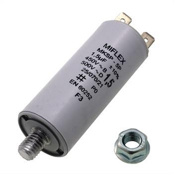 AnlaufKondensator MotorKondensator 1,5µF 450V 20x42mm Stecker M8 ; Miflex 1,5uF
