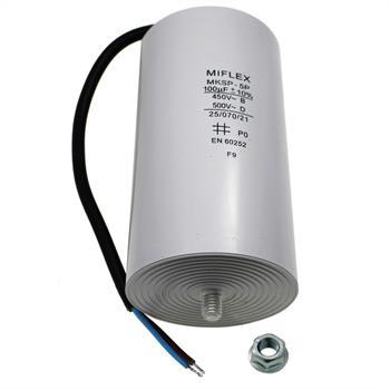 AnlaufKondensator MotorKondensator 100µF 450V 65x119mm Leitung M8 Miflex 100uF