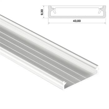 led aluminium profil 1m extra breit 43x9mm schiene f r led streifen wei. Black Bedroom Furniture Sets. Home Design Ideas