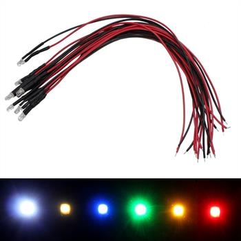 Superhelle LED 3mm 5V + Kabel vers. Farben