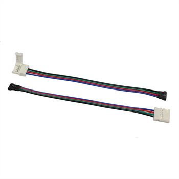 Connector for RGB LED Strips 10mm connector-cable-clip ; Total length ~ 17cm