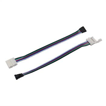Connector for RGBW LED Strips 10mm connector-cable-clip ; Total length ~ 16cm