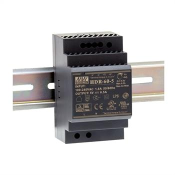 Din-Rail power supply 32W 5V 6,5A ; MeanWell HDR-60-5 ; Panel Mount
