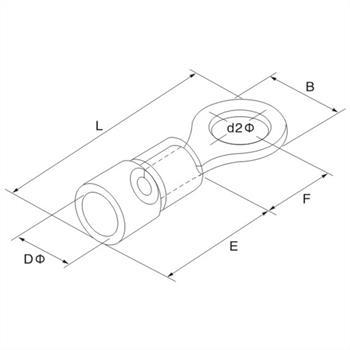 25x Ringkabelschuh teilisoliert 1,5-2,5mm² Blau Ringzunge Kupfer verzinnt