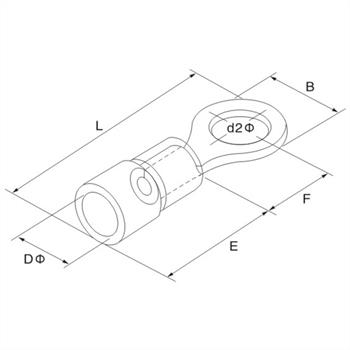 25x Ringkabelschuh teilisoliert 4-6mm² Gelb Ringzunge Kupfer verzinnt