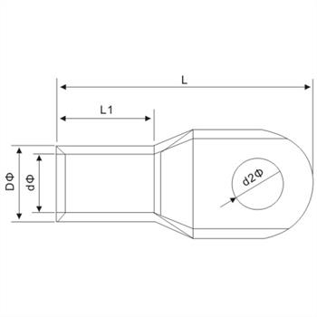 1x Rohrkabelschuh blank 35mm² Ringzunge Kupfer verzinnt