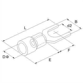 25x Gabelkabelschuh teilisoliert 4-6mm² Gelb Gabelschuh Kupfer verzinnt