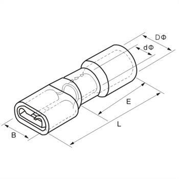 25x Flachsteckhülse vollisoliert 0,5-1,5mm² rot ; für Flachstecker