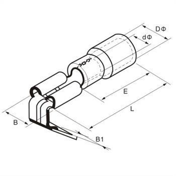 25x Flachsteckhülse mit Abzweig 0,5-1,5mm² rot ; für Flachstecker