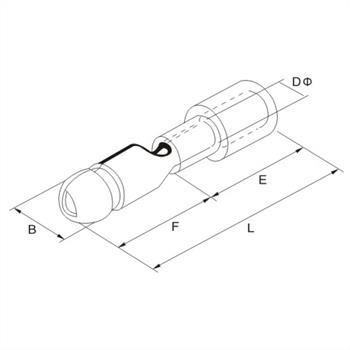 25x Rundstecker isoliert 0,5-1,5mm² rot ; Kabelschuh Steckverbinder